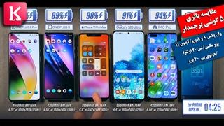 باتری کدام گوشی بهتر است: وان پلاس8، 8پرو، آیفون 11 پرومکس، اس 20 اولترا،هواوی P40 Pro