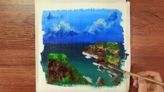آموزش نقاشی آسان گام به گام منظره ی صخره و دریا