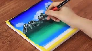 Mountain + Ocean = ?| آموزش گام به گام نقاشی روی بوم منطره ی کوه